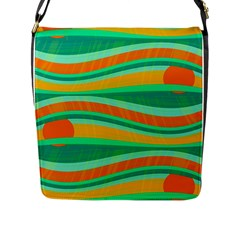 Green and orange decorative design Flap Messenger Bag (L)