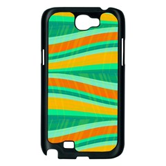 Green and orange decorative design Samsung Galaxy Note 2 Case (Black)