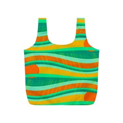 Green and orange decorative design Full Print Recycle Bags (S)