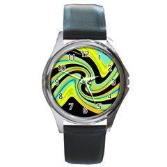 Blue and yellow Round Metal Watch