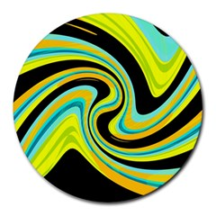 Blue and yellow Round Mousepads