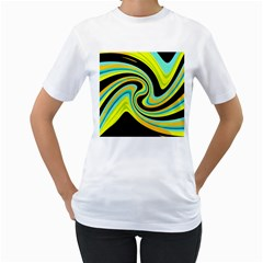 Blue and yellow Women s T-Shirt (White) (Two Sided)