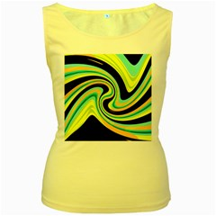 Blue and yellow Women s Yellow Tank Top