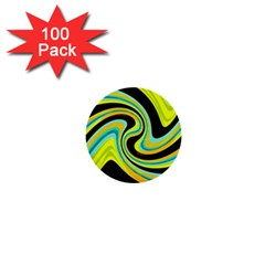 Blue and yellow 1  Mini Buttons (100 pack)