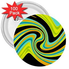 Blue and yellow 3  Buttons (100 pack)