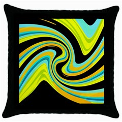 Blue and yellow Throw Pillow Case (Black)
