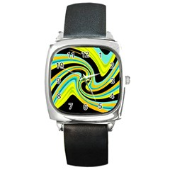 Blue and yellow Square Metal Watch