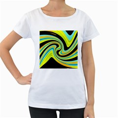 Blue and yellow Women s Loose-Fit T-Shirt (White)