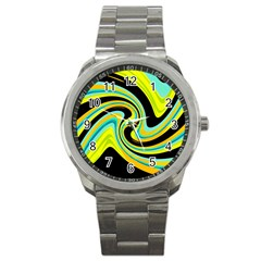 Blue and yellow Sport Metal Watch