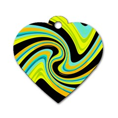 Blue and yellow Dog Tag Heart (One Side)
