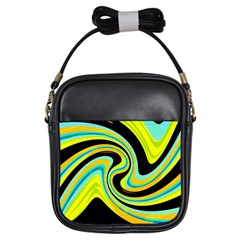 Blue and yellow Girls Sling Bags
