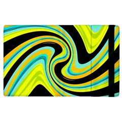 Blue and yellow Apple iPad 2 Flip Case