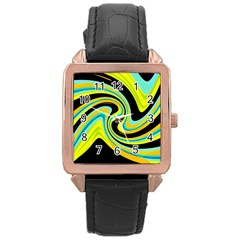 Blue and yellow Rose Gold Leather Watch