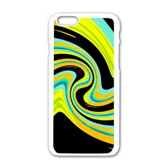 Blue and yellow Apple iPhone 6/6S White Enamel Case