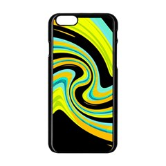 Blue and yellow Apple iPhone 6/6S Black Enamel Case