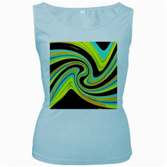 Blue and yellow Women s Baby Blue Tank Top