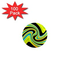 Blue and yellow 1  Mini Magnets (100 pack)