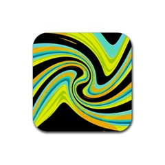 Blue and yellow Rubber Square Coaster (4 pack)