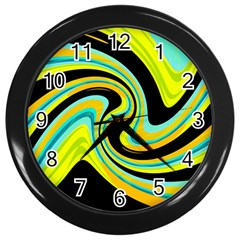 Blue and yellow Wall Clocks (Black)
