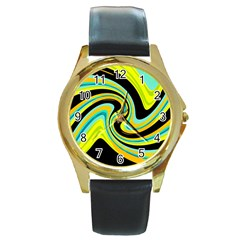 Blue and yellow Round Gold Metal Watch