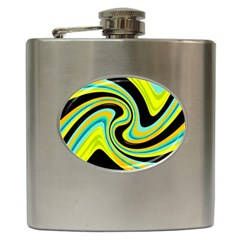 Blue and yellow Hip Flask (6 oz)