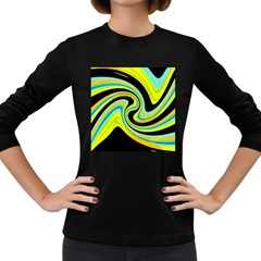 Blue and yellow Women s Long Sleeve Dark T-Shirts