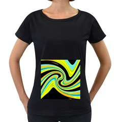 Blue and yellow Women s Loose-Fit T-Shirt (Black)