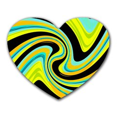 Blue and yellow Heart Mousepads