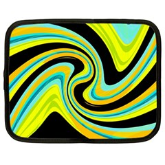 Blue and yellow Netbook Case (Large)
