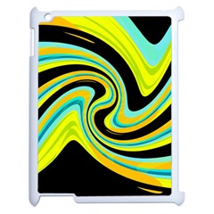 Blue and yellow Apple iPad 2 Case (White)