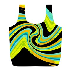 Blue and yellow Full Print Recycle Bags (L)