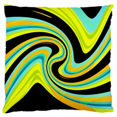 Blue and yellow Large Flano Cushion Case (One Side)