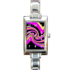Pink and yellow Rectangle Italian Charm Watch