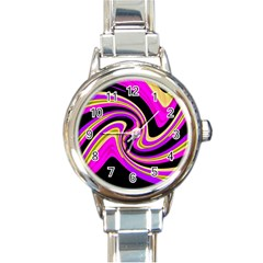 Pink and yellow Round Italian Charm Watch