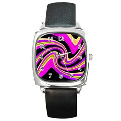 Pink and yellow Square Metal Watch
