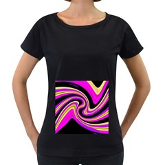 Pink and yellow Women s Loose-Fit T-Shirt (Black)