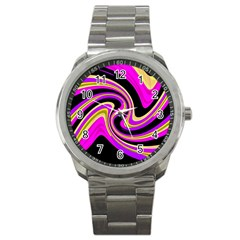 Pink And Yellow Sport Metal Watch