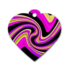 Pink and yellow Dog Tag Heart (Two Sides)
