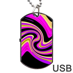 Pink and yellow Dog Tag USB Flash (Two Sides)