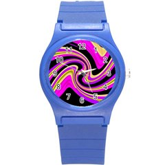 Pink and yellow Round Plastic Sport Watch (S)
