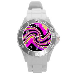 Pink and yellow Round Plastic Sport Watch (L)