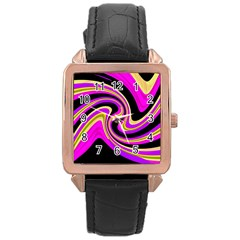 Pink and yellow Rose Gold Leather Watch