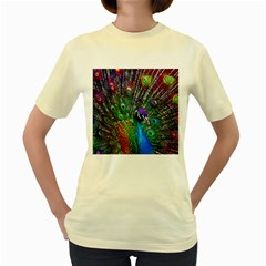 3d Peacock Pattern Women s Yellow T-Shirt