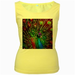 3d Peacock Pattern Women s Yellow Tank Top