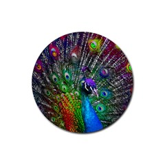 3d Peacock Pattern Rubber Round Coaster (4 pack)