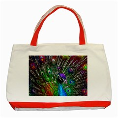 3d Peacock Pattern Classic Tote Bag (Red)