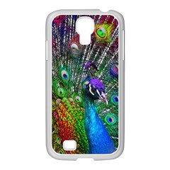 3d Peacock Pattern Samsung GALAXY S4 I9500/ I9505 Case (White)