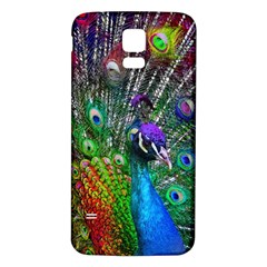 3d Peacock Pattern Samsung Galaxy S5 Back Case (White)