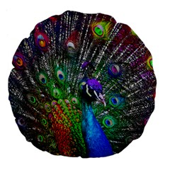 3d Peacock Pattern Large 18  Premium Flano Round Cushions