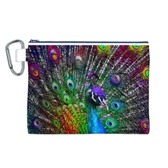 3d Peacock Pattern Canvas Cosmetic Bag (L)
